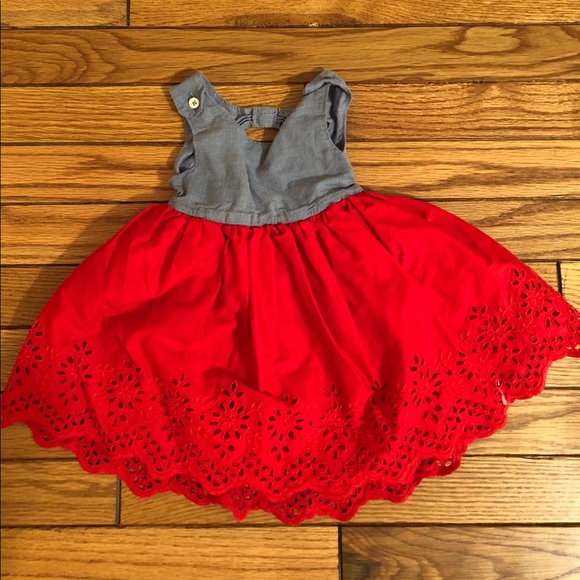 2952526b68e GAP Other - babyGap chambray   red eyelet lace dress